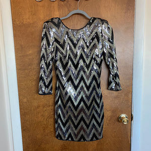 BEBE Black and Gold Sequin Dress